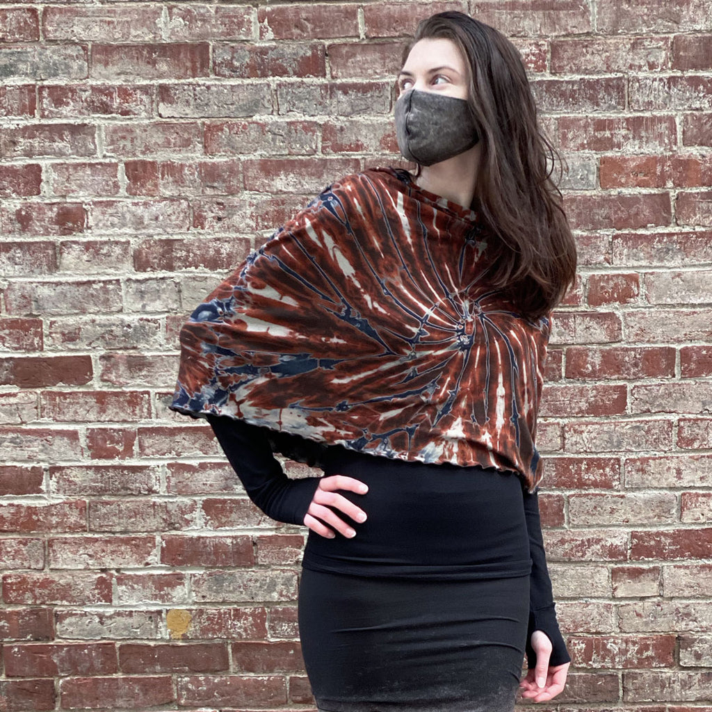 angelrox® wine spin infinity scarf as a shawl