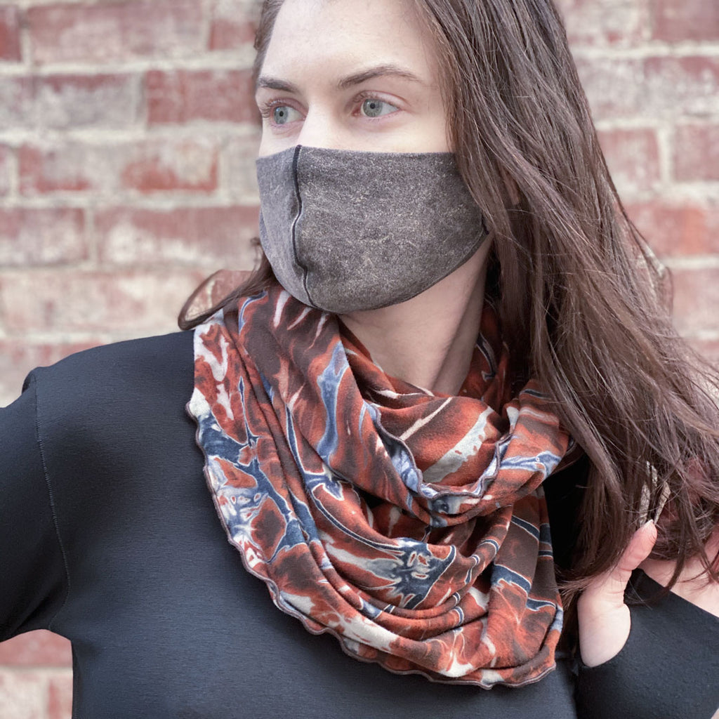angelrox® peat spin infinity scarf + the mineral whisper mask + black valor crew neck