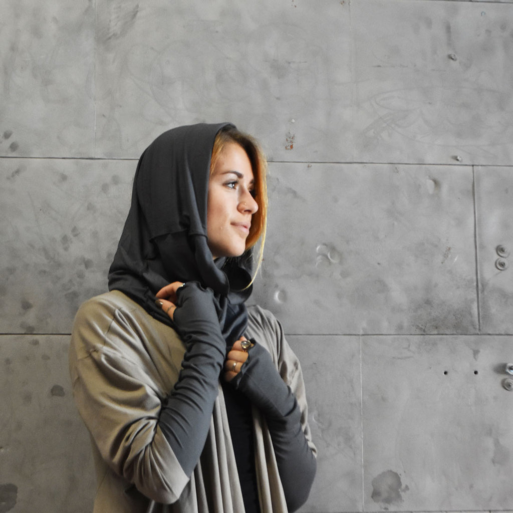 angelrox® essentials. opera sleeves + hourglass hooded cowl in ore