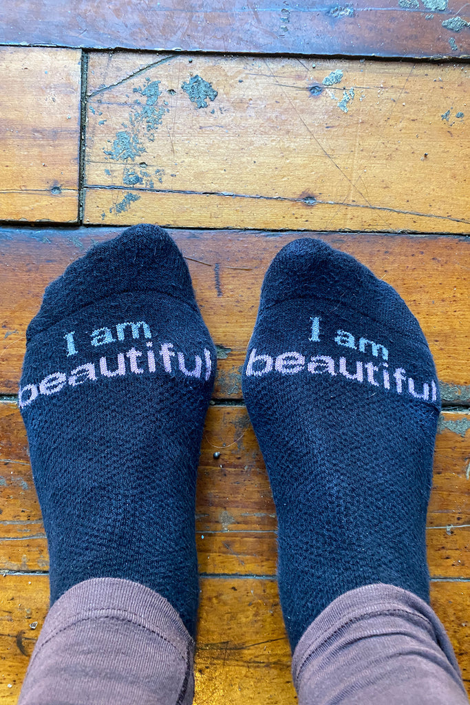 I am beautiful cozy cotton socks