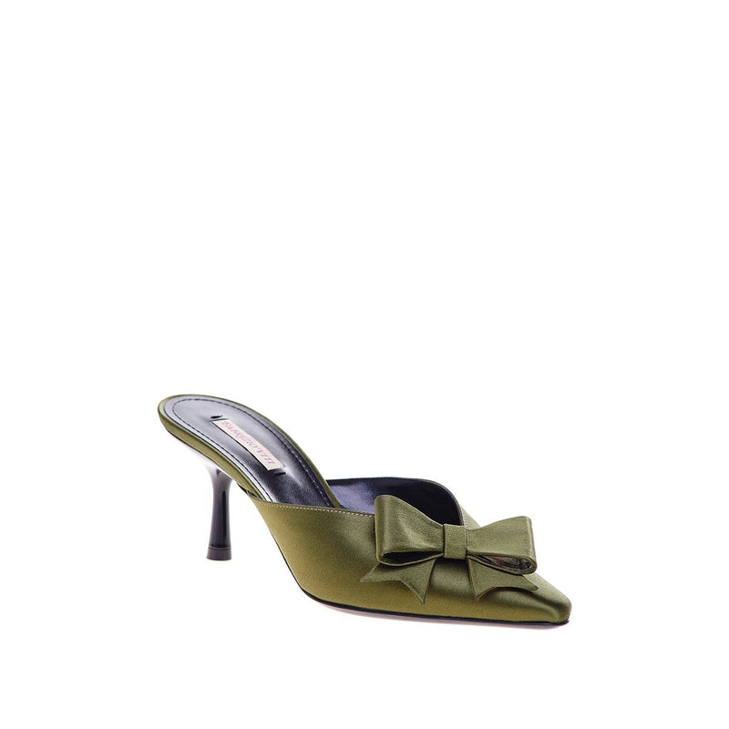 Nina Pointed Toe Mini Mule - Satin Military
