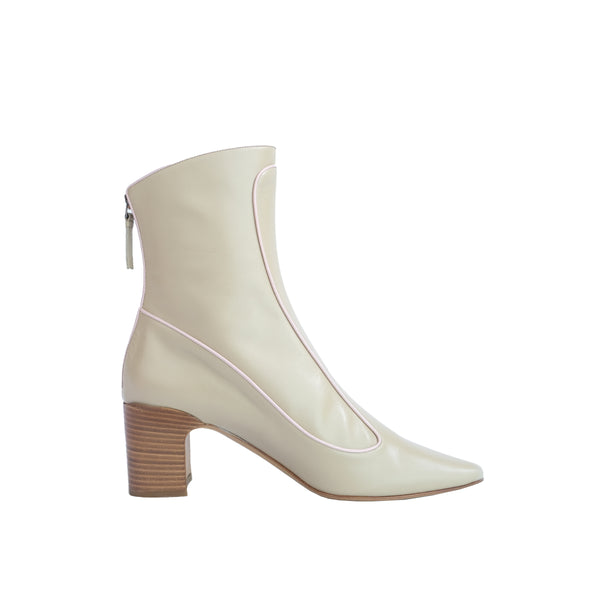 Winter Timeless Low Heel Bootie - Champagne with Pink Piping