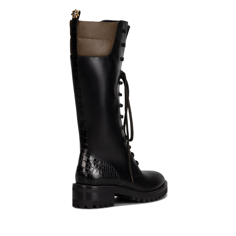 Dolomite Knee High Boot - Black & Olive