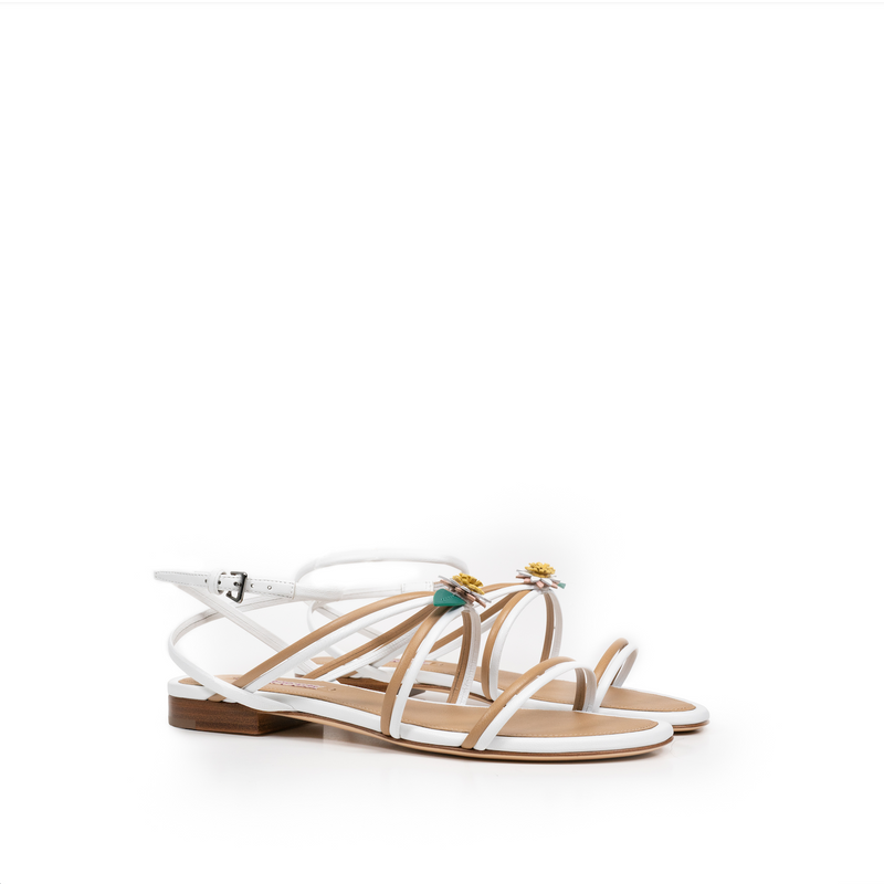 Alice Sandal - White And Beige