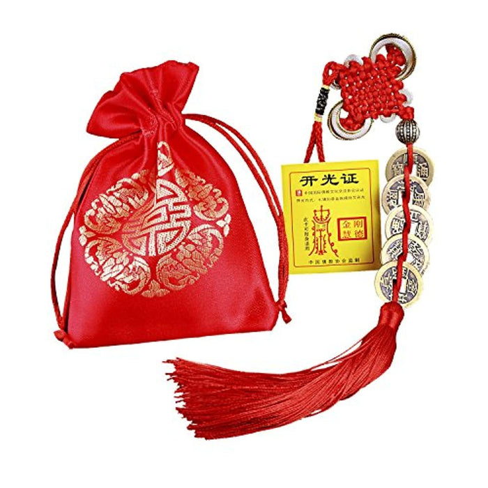 Feng Shui Coins for Wealth and Success with Chinese Knot Lucky Coins Five Emperor Money(5coins) - BrahmatellsStore