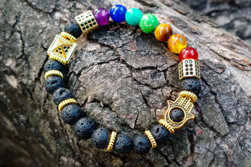 Lava Rock Bracelet with 7 Chakra & Charms - BrahmatellsStore