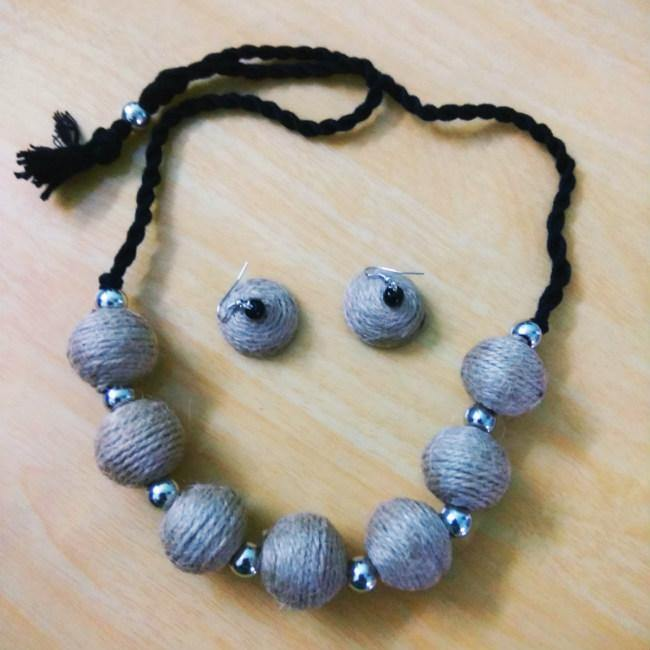 Jute Ball Jewelry Set - BrahmatellsStore