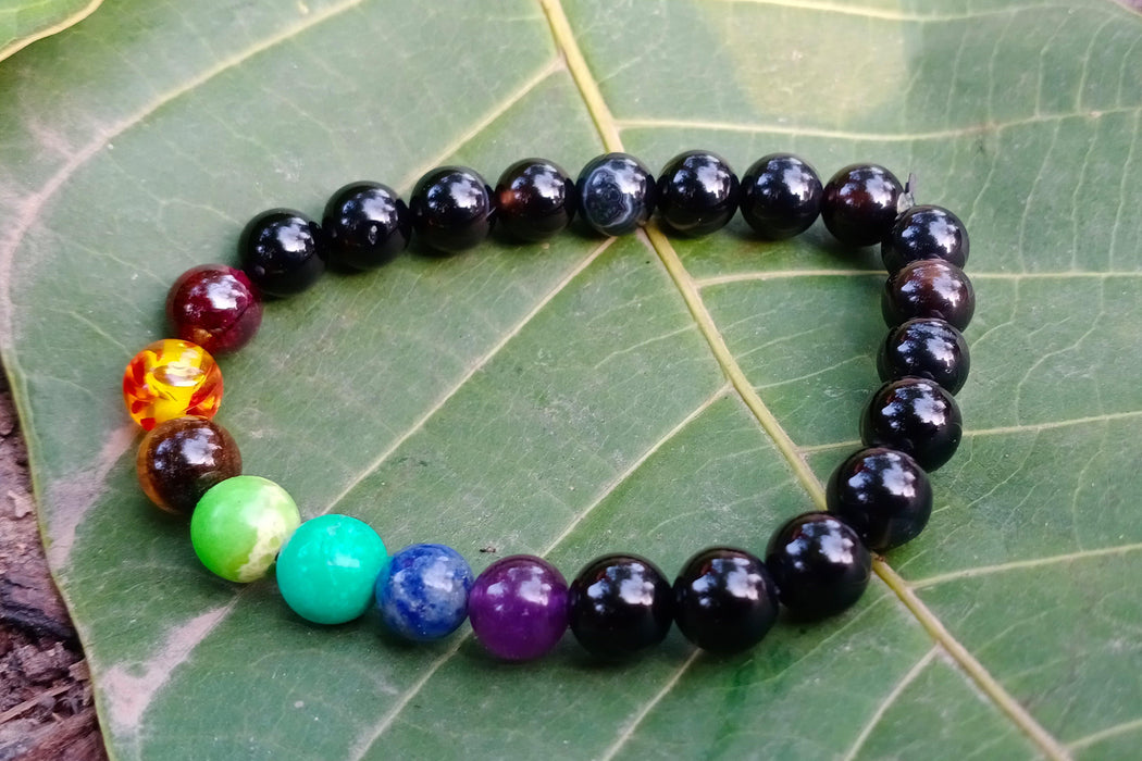 Black Tourmaline Bracelet With 7 Chakra - BrahmatellsStore