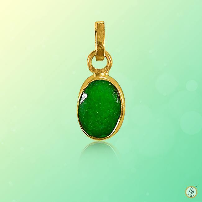 Emerald oval-strong yellowish-green-pendant BTE118PSM - BrahmatellsStore