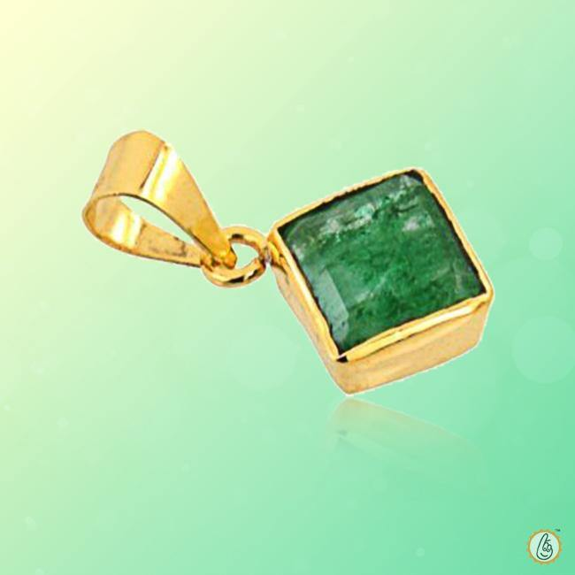 Emerald square-dark yellowish-green-pendant BTE120PSM - BrahmatellsStore