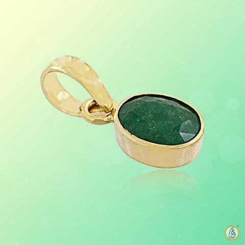 Emerald oval-dark-green-gold-pendant BTE121PSM