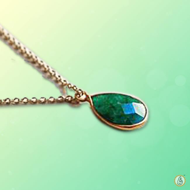 Emerald pear-drop-intense dark-green-pendant BTE124PSM - BrahmatellsStore