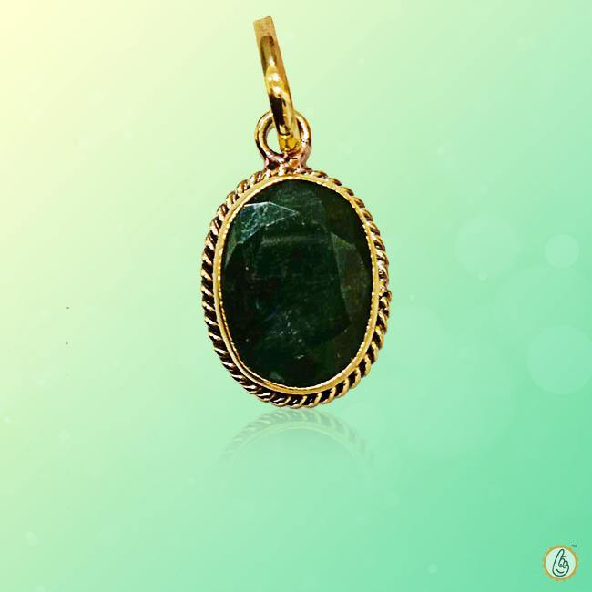 Emerald oval-intense dark-green-pendant BTE125PSM - BrahmatellsStore