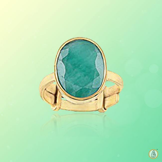 Emerald oval-natural bluish-green-ring BTE127RSM - BrahmatellsStore
