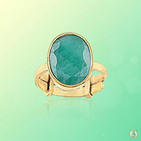 Emerald oval-natural bluish-green-ring BTE127RSM