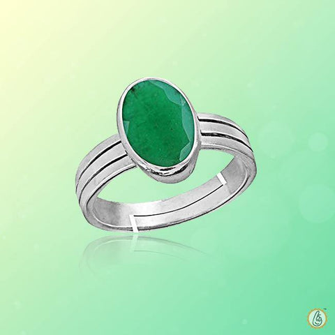 Emerald oval-yellowish-green-ring-silver BTE131RSM