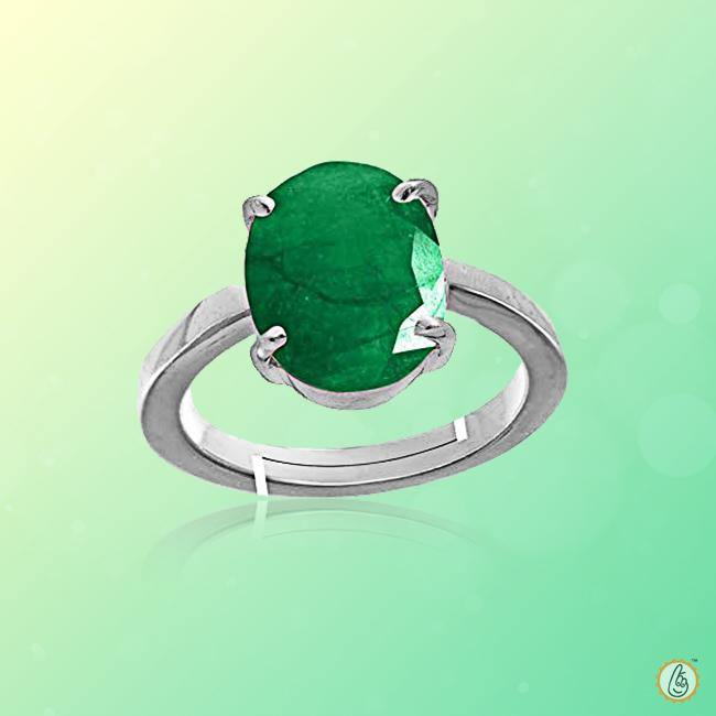 Emerald oval-yellow-green-ring-silver-adjustable BTE132RSM - BrahmatellsStore
