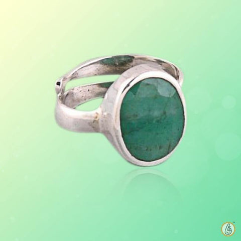 Emerald oval-dark-green-ring-silver-adjustable BTE133RSM