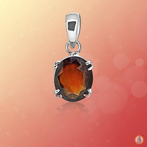 Hessonite Gomed tan-brown-silver-pendant BTHG134PSM