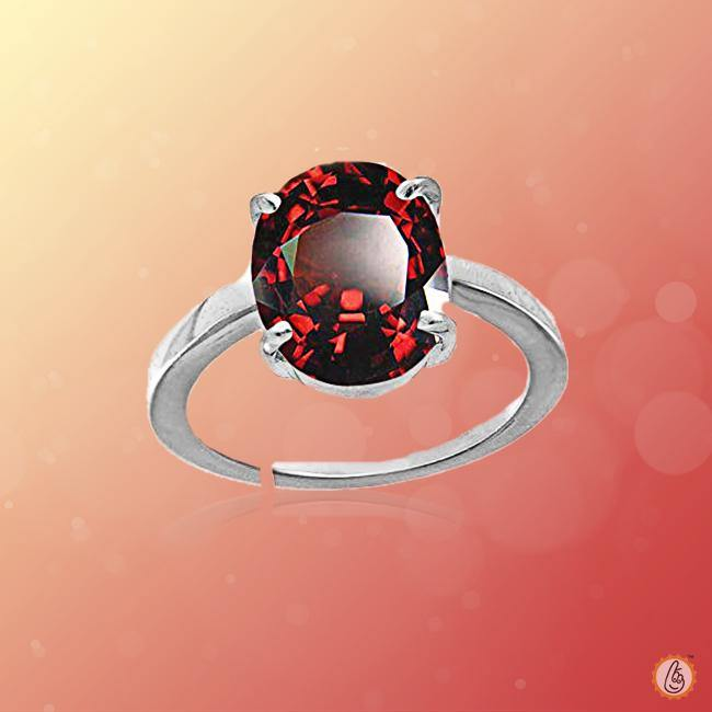 Hessonite Gomed reddish-brown-silver-ring BTHG139RSM - BrahmatellsStore