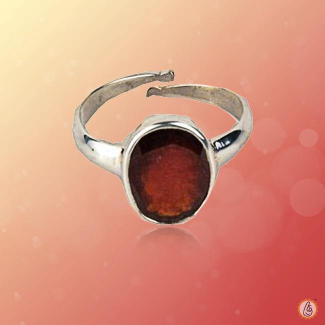 Hessonite Gomed dark-tan-adjustable-ring BTHG141RSM