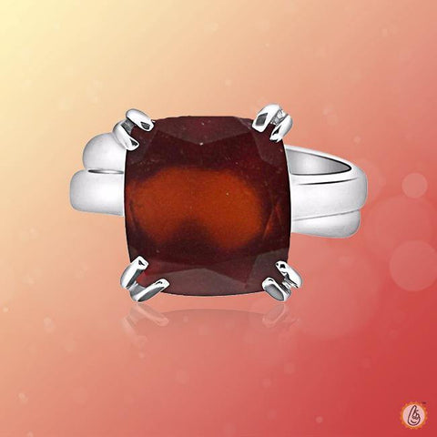 Hessonite Gomed cushion-dark-brown-ring BTHG143RSM