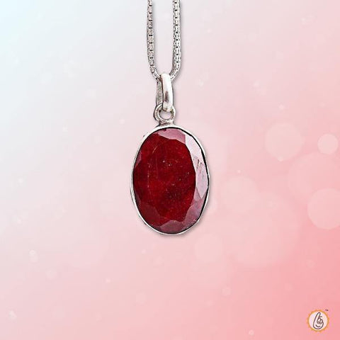 Ruby Manak oval-silver-cherry-red-pendant BTR145PSM