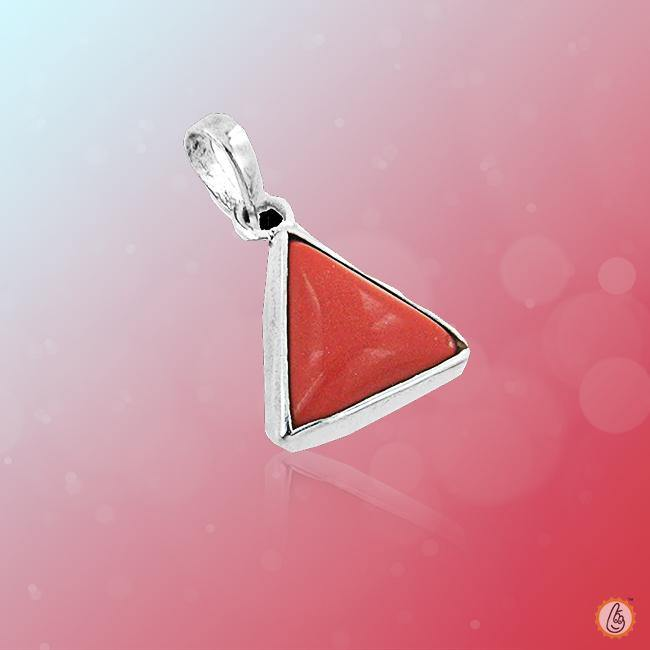 Red Coral triangle-apple-red-silver-pendant BTRC117PSM