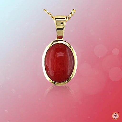 Red Coral oval-wine-red-pendant BTRC125PSM - BrahmatellsStore