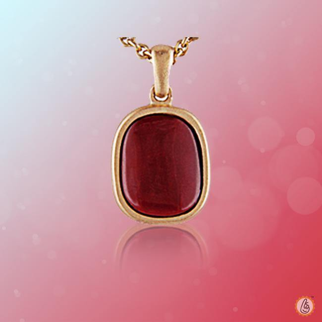 Red Coral soft-square-wine-red-pendant BTRC126PSM - BrahmatellsStore