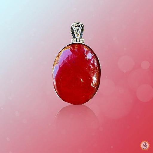 Red Coral oval-light-red-pendant BTRC127PSM - BrahmatellsStore