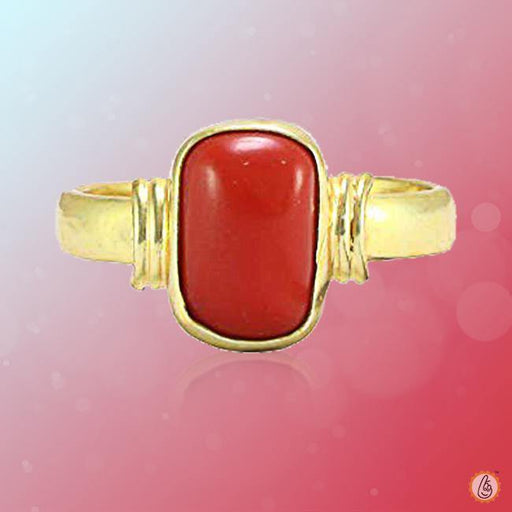 Red Coral capsule-deep-red-ring-golden BTRC128RSM - BrahmatellsStore