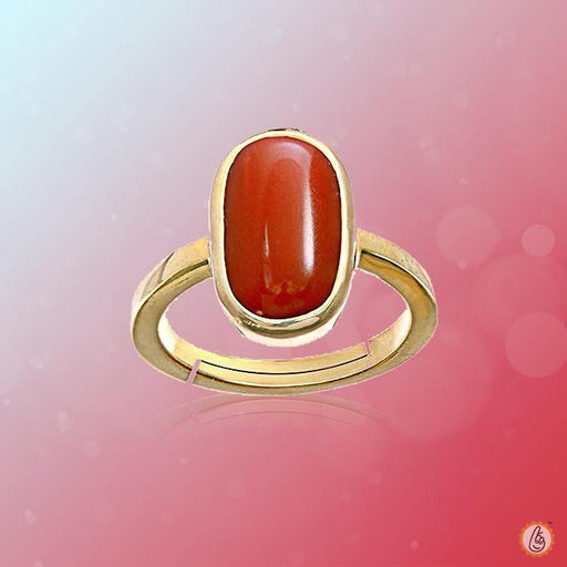 Red Coral capsule-cherry-red-ring-golden BTRC129RSM - BrahmatellsStore