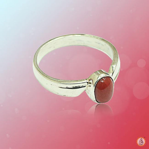 Red Coral oval-wine-red-ring-golden BTRC130RSM - BrahmatellsStore