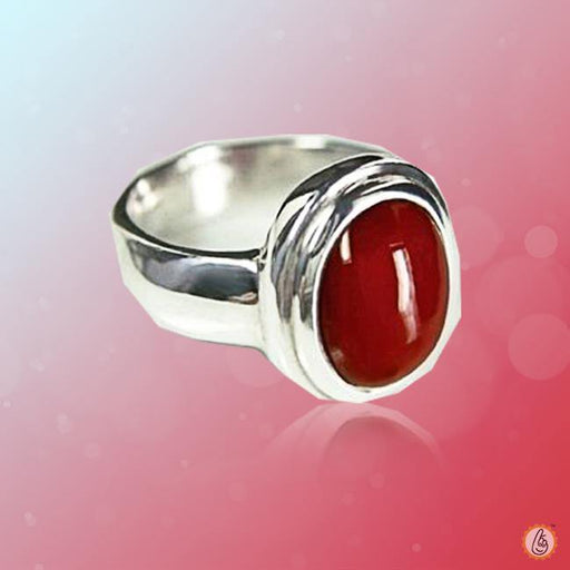 Red Coral oval-apple-red-ring-golden BTRC131RSM - BrahmatellsStore