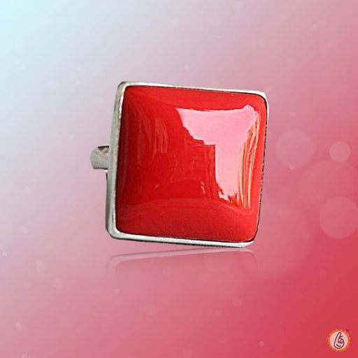 Red Coral square-cherry-red-ring-silver BTRC132RSM - BrahmatellsStore