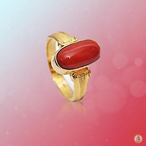 Red Coral capsule-crimson-red-ring-golden BTRC133RSM - BrahmatellsStore