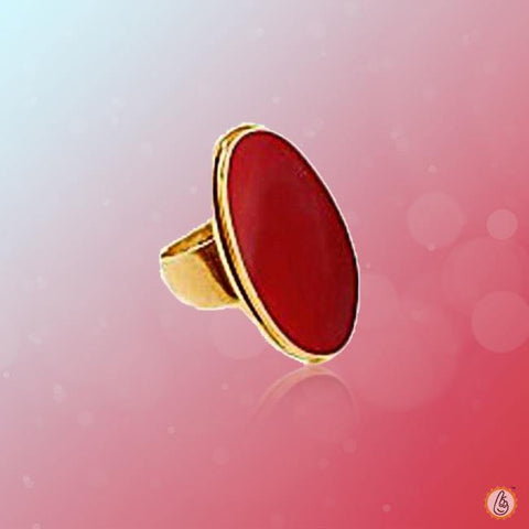 Red Coral oval-candy-red-ring-gold BTRC134RSM