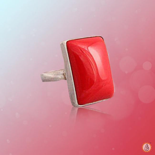 Red Coral rectangle-baguette-apple-red-ring-golden BTRC136RSM - BrahmatellsStore