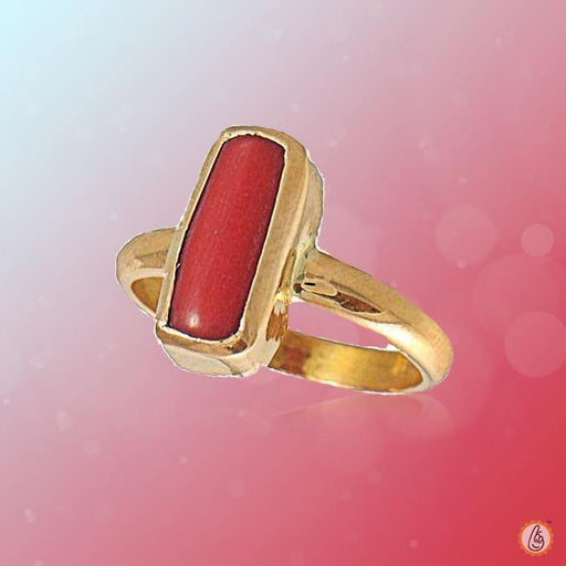 Red Coral capsule-crimson-red-ring-golden BTRC138RSM - BrahmatellsStore