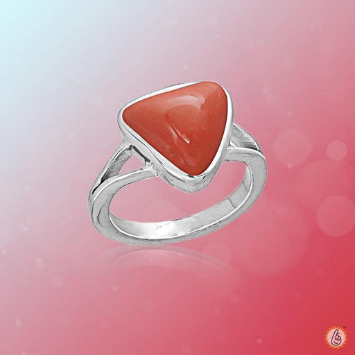 Red Coral triangular-blood-red-ring BTRC139RSM - BrahmatellsStore