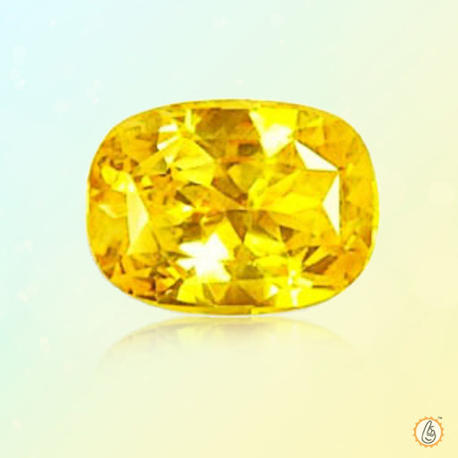 Yellow sapphire soft-square-honey-yellow BTYS107GSM - BrahmatellsStore