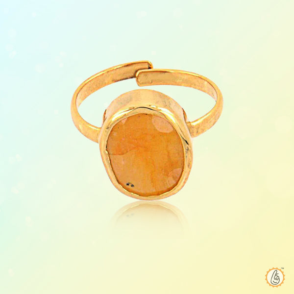 Yellow sapphire candle-light-ring BTYS122RSM - BrahmatellsStore