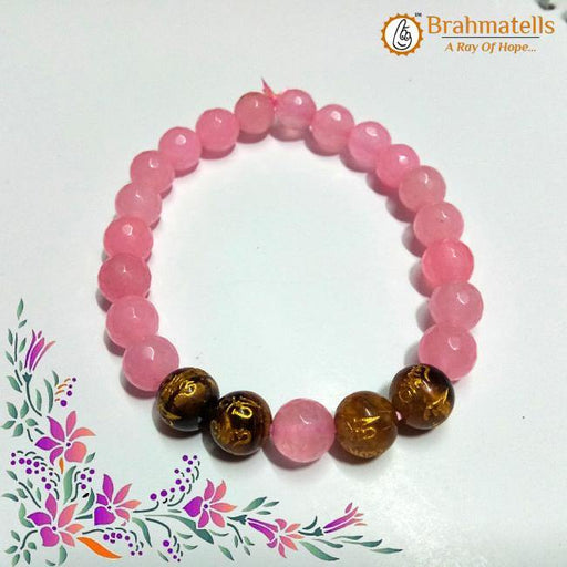 Natural Rose Quartz Bracelet with a mixture of Tigers Eye Stones - BrahmatellsStore