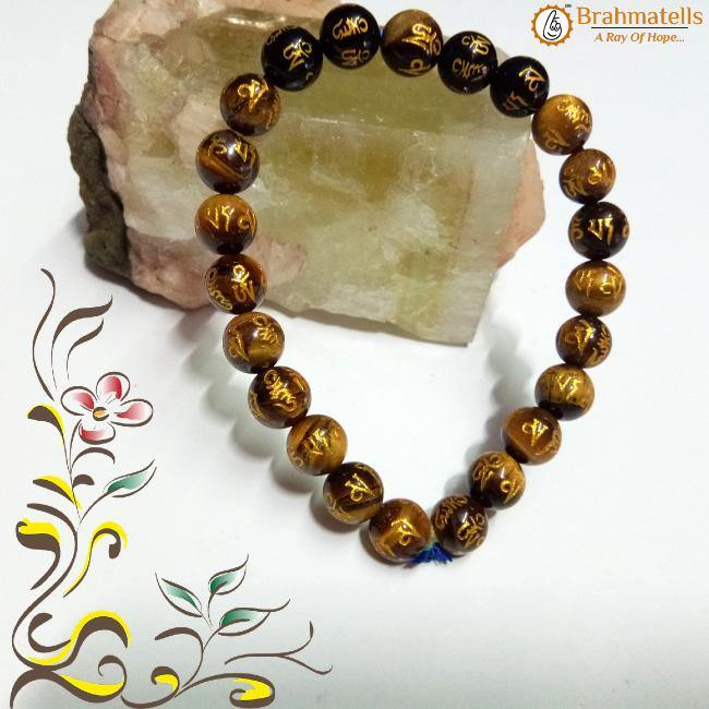 *OM MANI PADME HUM ENGRAVED POWERFUL TIGER EYE BRACELET*