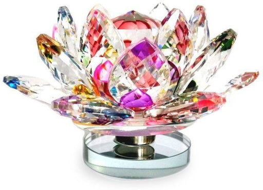 Crystal Lotus Flower On Stand with Rotating Base Multi Colorful  for Positive Energy and Good Luck Home - BrahmatellsStore