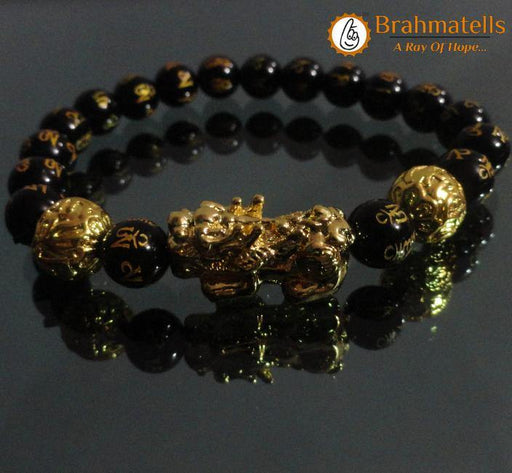 Om Mani Padme Hum Engraved Powerful Black Tourmaline Bracelet - BrahmatellsStore