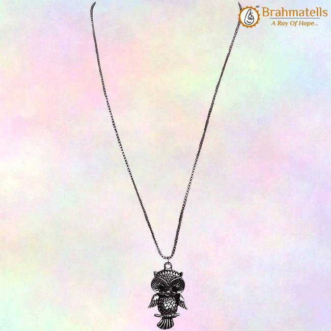 Necklace with long chain for girls, Oxidised Metal Owl Pendant - BrahmatellsStore