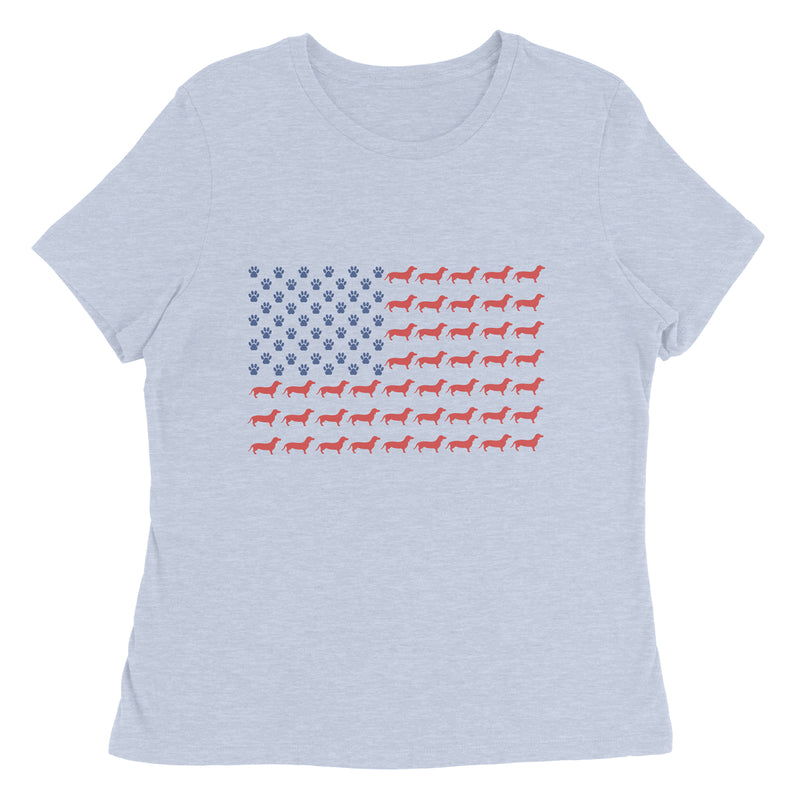 Limited Edition Dachshund American Flag Ladies Tee