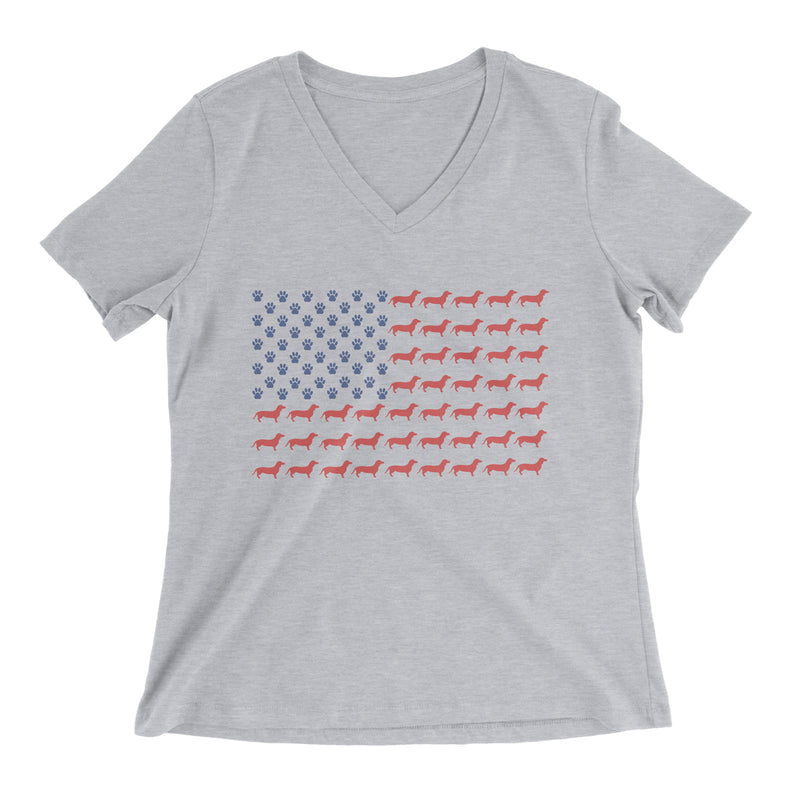 Limited Edition Dachshund American Flag Ladies V-Neck Tee